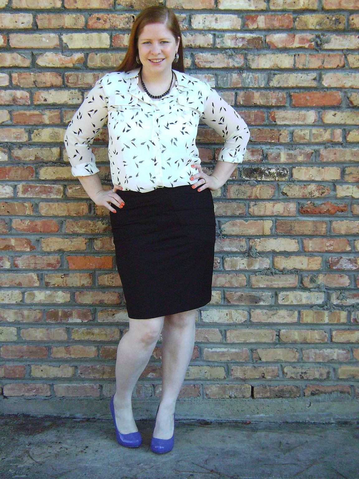 What I Wore To Church u2013 Bird Print Blouse and Pencil Skirt | Shop With Beth