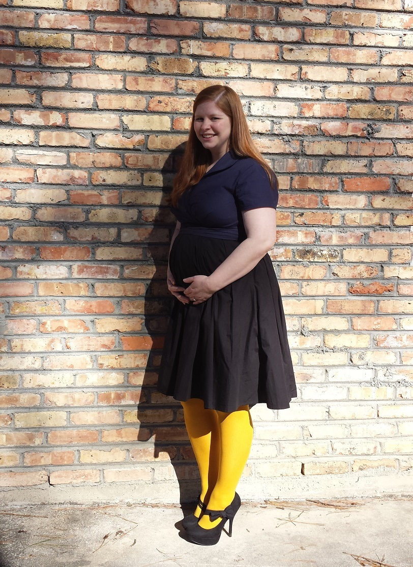 What I Wore To Church – Navy Colorblock Dress and Mustard ...