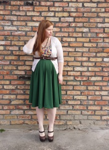 Green skirt Outfit 1