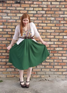 Green skirt Outfit 2