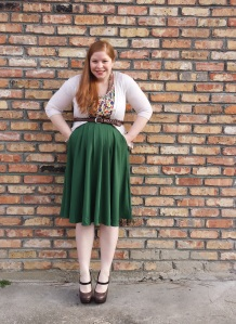 Green skirt Outfit 3