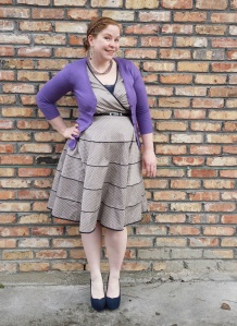 Polka dot dress and orchid cardigan 1