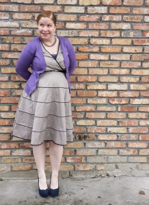 Polka dot dress and orchid cardigan 2