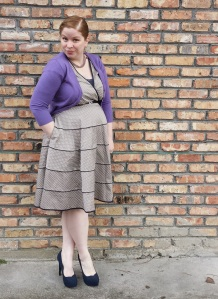 Polka dot dress and orchid cardigan 3