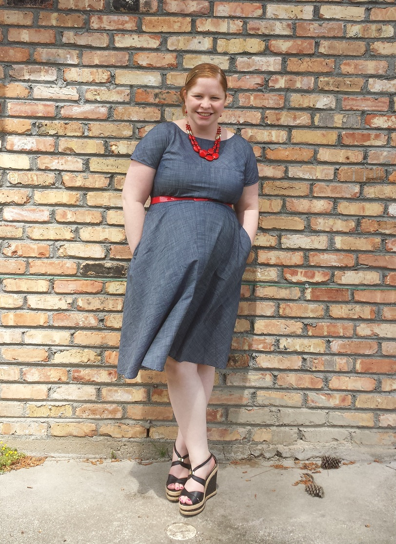 2f568bce95018 What I Wore To Church – Chambray Dress Remixed